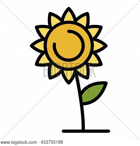 Lonely Sunflower Icon. Outline Lonely Sunflower Vector Icon Color Flat Isolated