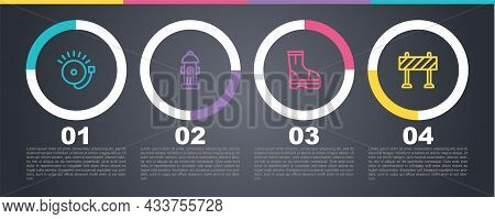Set Line Ringing Alarm Bell, Fire Hydrant, Boots And Road Barrier. Business Infographic Template. Ve