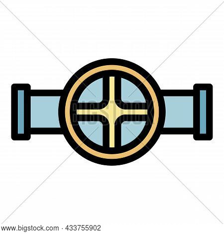 Wheel Pipe Tap Icon. Outline Wheel Pipe Tap Vector Icon Color Flat Isolated