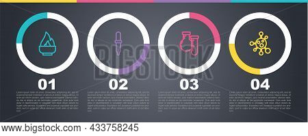 Set Line Alcohol Or Spirit Burner, Pipette, Test Tube And Flask And Molecule. Business Infographic T