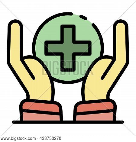 Hands Sanitation Protect Icon. Outline Hands Sanitation Protect Vector Icon Color Flat Isolated