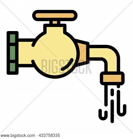 Clean Water Tap Icon. Outline Clean Water Tap Vector Icon Color Flat Isolated