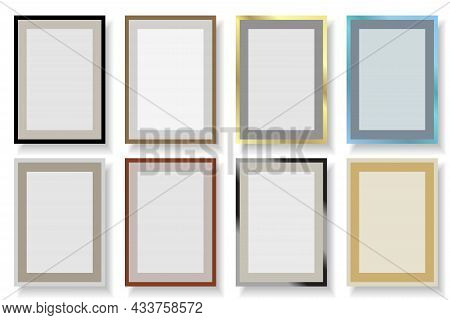 Simple Rectangle Vector Frames. Collection Of Colorful Borders Mockup. Copy Space, Empty Place For Y