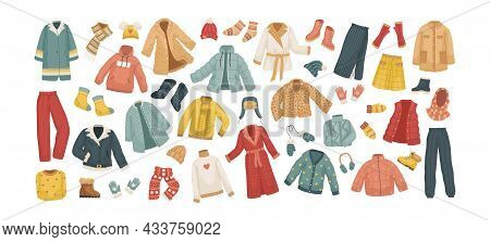 The Vector Set Of Winter Clothes. Coats, Hats, Gloves, Shoes And Socks.