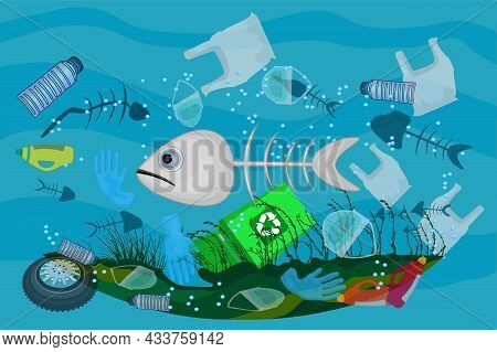 Poster With Ocean Pollution With Litter In Ocean, Dead Sea, Dirty Water, Fish Bones,  Face Masks, Pl
