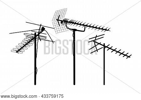Television Antenna Icons Set Isolated On White Background. Silhouettes Of Different Television Aeria
