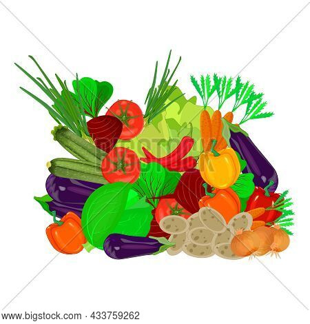 Pile Of Fresh Vegetables Isolated On White Background. Heap Of Different Ripe Organic Vegetables And