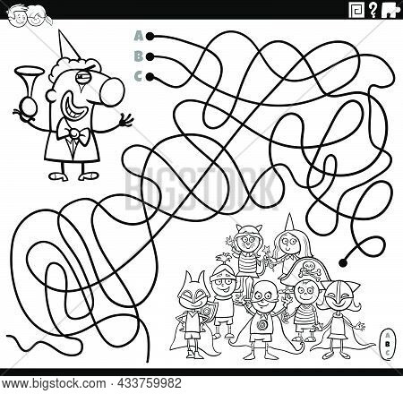 Black And White Cartoon Illustration Of Lines Maze Puzzle Game With Clown Character And Costume Part