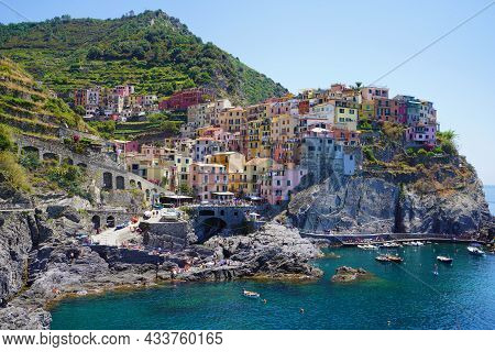 Manarola Typical Italian Village In The National Park Of Cinque Terre With Colorful Multicolored Bui