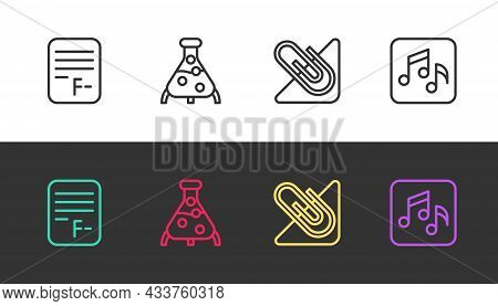 Set Line Exam Paper With Incorrect Answers, Test Tube And Flask, Paper Clip And Music Note, Tone On