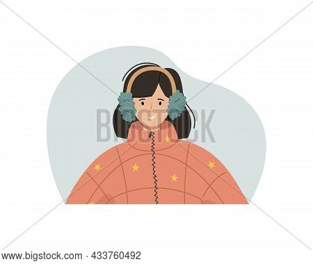 Vector Illustration Of A Girl In A Winter Sintepon Jacket, Fur Headphones. Winter Clothing.