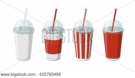 Disposable Paper Beverage Cup Templates Set For Soda Or Cocktail With Transparent Hemisphere Lid. 3d