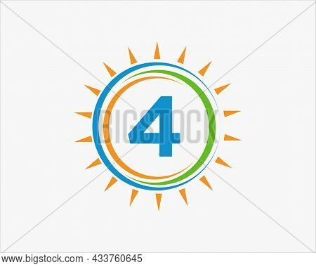 Sun Solar Energy Logo On Letter 4 Template. 4 Letter Solar Logo Design. Solar Panel Farm Electric Fa