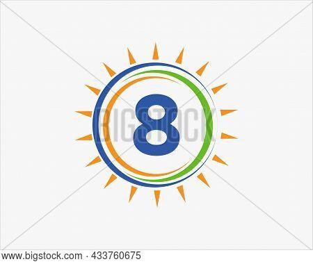 Sun Solar Energy Logo On Letter 8 Template. 8 Letter Solar Logo Design. Solar Panel Farm Electric Fa