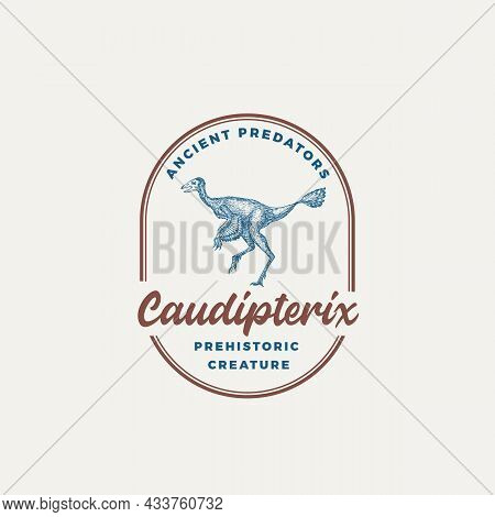 Prehistoric Creature Dinosaur Abstract Sign, Symbol Or Logo Template. Hand Drawn Caudipterix With Re