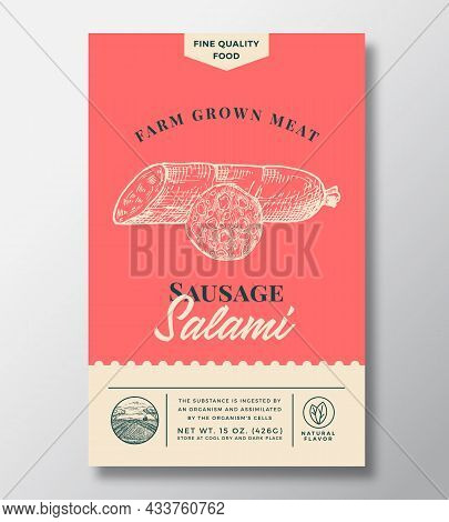 Farm Grown Meat Abstract Vector Packaging Design Or Label. Modern Typography Banner, Hand Drawn Sala