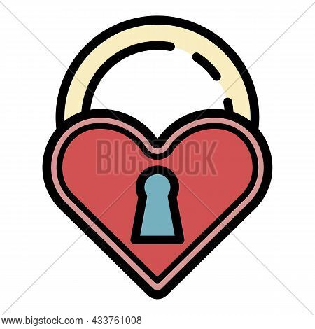 Love Closed Padlock Icon. Outline Love Closed Padlock Vector Icon Color Flat Isolated