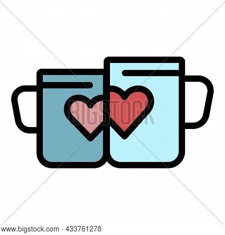 Honeymoon Heart Mug Icon. Outline Honeymoon Heart Mug Vector Icon Color Flat Isolated