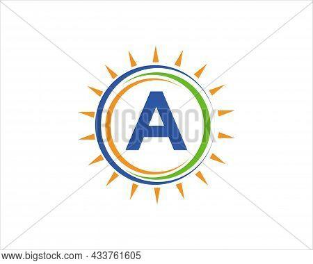 Sun Solar Energy Logo On Letter A Template. A Letter Solar Logo Design. Solar Panel Farm Electric Fa