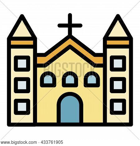 Catholic Church Icon. Outline Catholic Church Vector Icon Color Flat Isolated