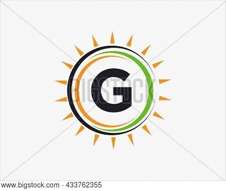 Sun Solar Energy Logo On Letter G Template. G Letter Solar Logo Design. Solar Panel Farm Electric Fa