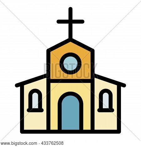 Stone Church Icon. Outline Stone Church Vector Icon Color Flat Isolated