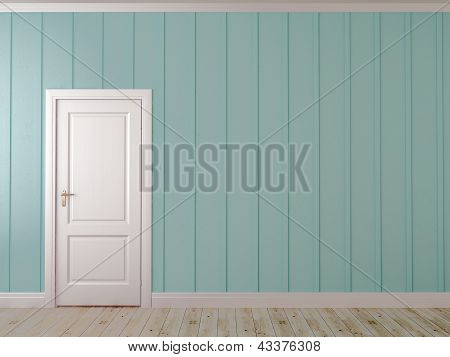 Blue Wall With A Door