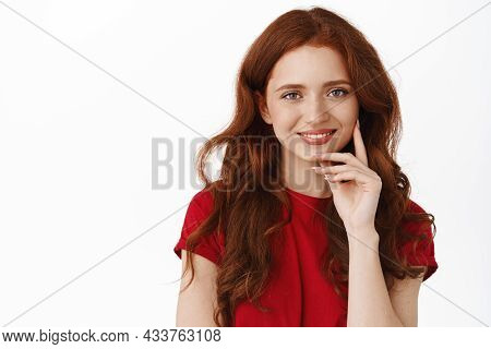 Close Up Portrait Of Authentic Redhead Woman, Smiling And Touching Natural No Make Up Face, Gazing H