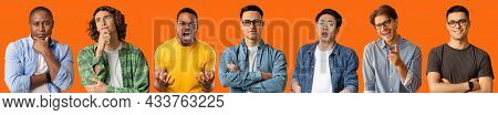 Handsome Charismatic Millennial Guys Grimacing And Gesturing Over Orange
