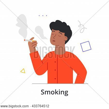 Cheerful Male Character Is Enjoing Smoking On White Background. Concept Of People Struggling With Un