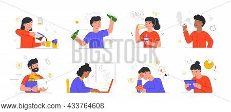 Set Of Scenes With Male And Female Characters Suffering From Unhealthy Habits On White Background. C
