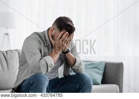 Shame Despair, Portrait Of Sad Man Suffers From Headache, Stress, Depression