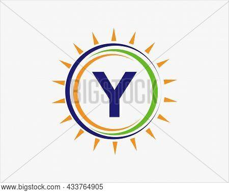 Sun Solar Energy Logo On Letter Y Template. Y Letter Solar Logo Design. Solar Panel Farm Electric Fa