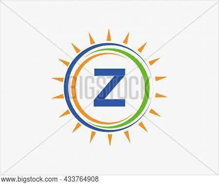 Sun Solar Energy Logo On Letter Z Template. Z Letter Solar Logo Design. Solar Panel Farm Electric Fa