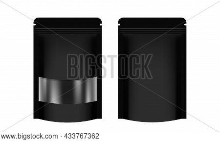 Zipper Paper Bag Black Packaging With Transparent Window Label, Coffee Bag Paper Kraft, Paper Bag Fo