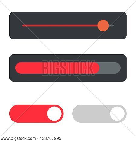 Ui Sliders Bar Panel Set. Vector. Web And Ui Application Slider Button Icon