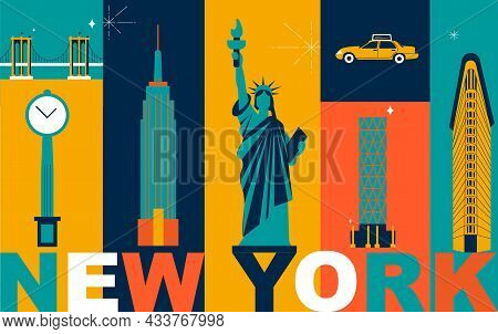 New York Culture Travel Set, Famous Architectures And Specialties In Flat Design. Business Us Touris