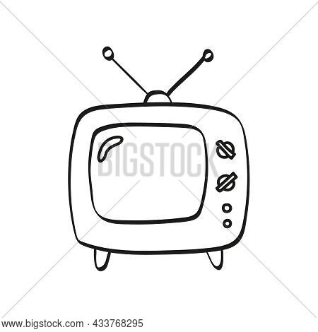 Vector Icon Of An Old Tv Set With Antenna In Doodle Style. Hand Drawn Vintage Television Devices.