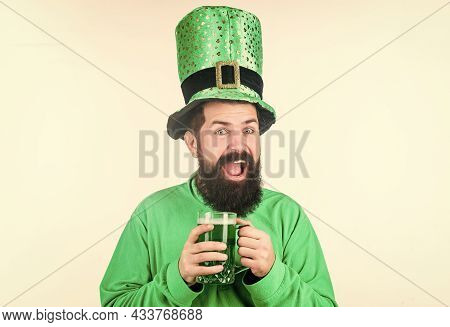 Drinking Beer Part Of Celebration. Bar Special Offer. Alcohol Consumption Integral Part Saint Patric