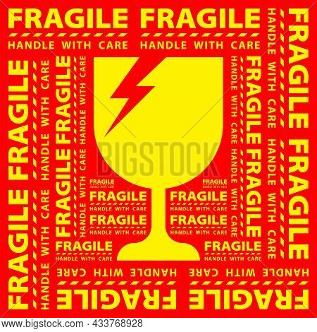 Sticker Fragile Handle With Care, Red Fragile Warning Label, Square Fragile Label With Broken Glass
