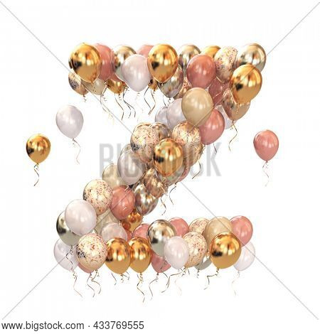 Letter Z  from balloons isolated on white. Text letter for holiday, birthday, celebration. 3d illustration
