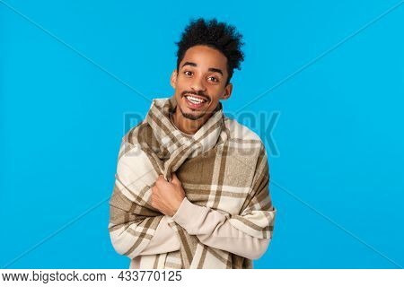 Man Trying Get Warm Asking For Tea As Staying Home After Walking On Winter Cold Weather, Wrap Himsel