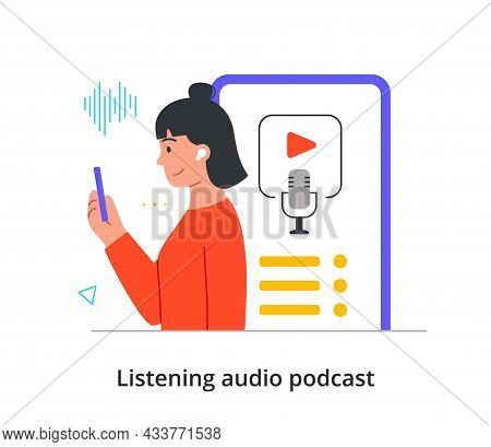 Cheerful Female Character Is Enjoing Listening To An Audio Podcast On Her Smartphone On White Backgr