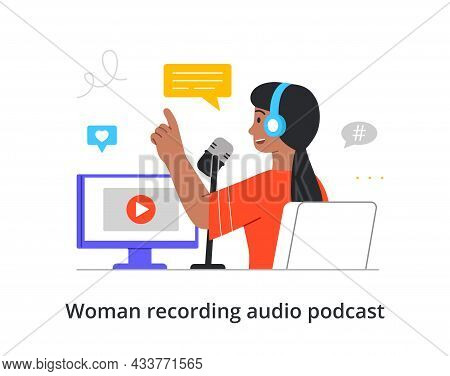 Happy Female Character Is Recording An Audio Podcast With Professional Equipment On White Background