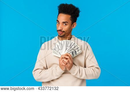 Guy Got Cash, Thinking What Buy, How Waste Money During Winter Holidays Sale Season. African America
