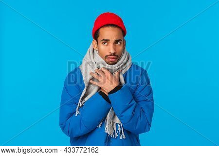 Silly And Sad, Moody African-american Guy Acting Childish Sulking, Looking Upset Upper Left Corner,