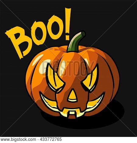 Spooky Pumpkin Head With Boo Text On A Dark Background. Use For The Halloween Backgrounds, Posters A