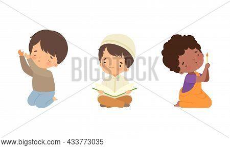 Little Kid Reading Quran And Kneeling Praying Vector Set
