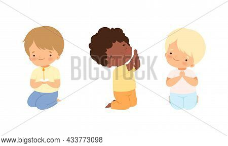 Little Kid Kneeling And Praying With Folded Hands Vector Set