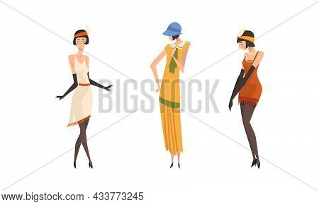 Young Female Wearing Garment From Twenties Vector Set